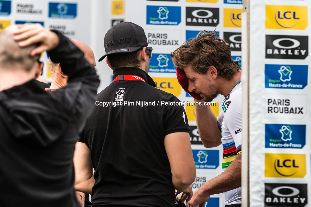 Peter SAGAN of Bora-Hansgrohe cleaning his face for the podium ceremony after the 2018 Paris-Roubaix race at Velodrome Roubaix, France, 8 April 2018, Photo by Pim Nijland / PelotonPhotos.com | All photos usage must carry mandatory copyright credit (Peloton Photos | Pim Nijland)