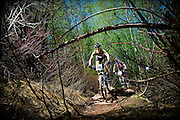 SHOT 6/4/11 12:10:34 PM - Mountain bike racers Michael Shea (#245) of Basalt, Co. and Casey Roberts of Durango, Co. (#246) race in the Expert Men's race at  the 10th Annual Teva Mountain Games in Vail, Co. Shea finished eighth and Roberts finished ninth in the event. Professional and amateur outdoor adventure athletes from the Vail Valley and around the world will converge upon the mountains and rivers of Vail to compete in eight sports and 23 disciplines including: x-country, freeride, slopestyle and road cycling, freestyle, 8-Ball, sprint and extreme kayaking, raft cross, World Cup Bouldering, stand up paddle sprint and surf cross, as well as trail, mud and road running, dog comps and the GNC Ultimate Mountain Challenge.. (Photo by Marc Piscotty / © 2010)