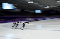 February 18, 2018 - Gangneung, South Korea - Speed skater from Japan compete during the Men's Speed Skating Team Pursuit Quarterfinals at the PyeongChang 2018 Winter Olympic Games at Gangneung Oval on Sunday February 18, 2018. (Credit Image: © Paul Kitagaki Jr. via ZUMA Wire)