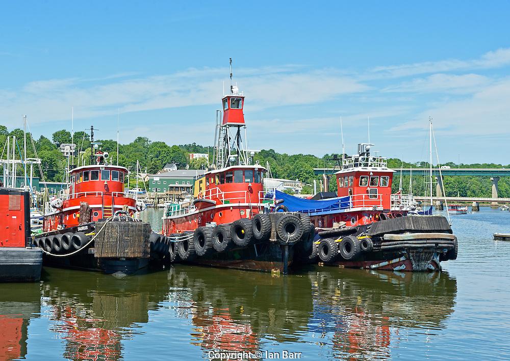 Three Red Tugs in Belfast Harbor, Maine