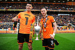 Free to use courtesy of Sky Bet - Danny Batth and Barry Douglas of Wolverhampton Wanderers celebrate after lifting the Sky Bet Championship 2017/18 league trophy - Mandatory by-line: Matt McNulty/JMP - 28/04/2018 - FOOTBALL - Molineux - Wolverhampton, England - Wolverhampton Wanderers v Sheffield Wednesday - Sky Bet Championship