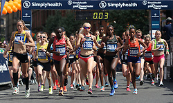Runners at the start of the Simplyhealth Great Manchester Elite Women's 10k run through Manchester.