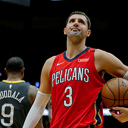 May 6, 2018; New Orleans, LA, USA; New Orleans Pelicans forward Nikola Mirotic (3) reacts to an officials call during the second quarter in game four of the second round of the 2018 NBA Playoffs against the Golden State Warriors at the Smoothie King Center. Mandatory Credit: Derick E. Hingle-USA TODAY Sports