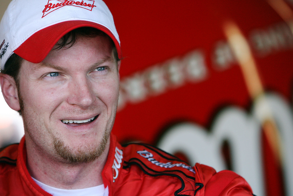 Portrait of Dale Earnhardt Jr. during Nascar Nextel Cup series practice at Daytona International Speedway.
