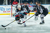 KELOWNA, BC - JANUARY 4: Pavel Novak #11 of the Kelowna Rockets is checked by Milos Roman #40 of the Vancouver Giants during first period at Prospera Place on January 4, 2020 in Kelowna, Canada. (Photo by Marissa Baecker/Shoot the Breeze)