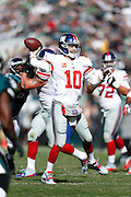 New York Giants quarterback Eli Manning (10) throws the ball during the NFL week 8 football game against the Philadelphia Eagles on Sunday, Oct. 27, 2013, at Lincoln Financial Field in Philadelphia, Pennsylvania. The Giants won the game 15-7. (Joe Robbins)
