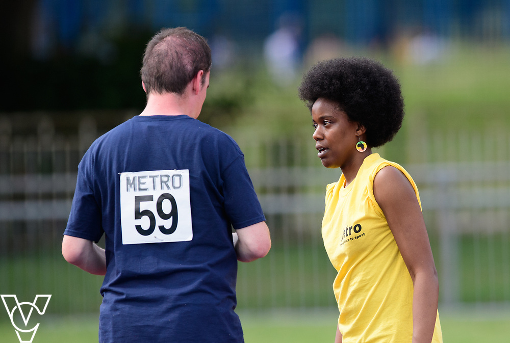Metro Blind Sport's 2017 Athletics Open held at Mile End Stadium.  High Jump.  Vanja Sudar with guide <br /> <br /> Picture: Chris Vaughan Photography for Metro Blind Sport<br /> Date: June 17, 2017
