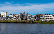 Ocean Grove, NJ USA -- May 12, 2017 -- Victorian and modern style houses stand side by along a waterfront in Ocean Grove, NJ. Editorial Use Only