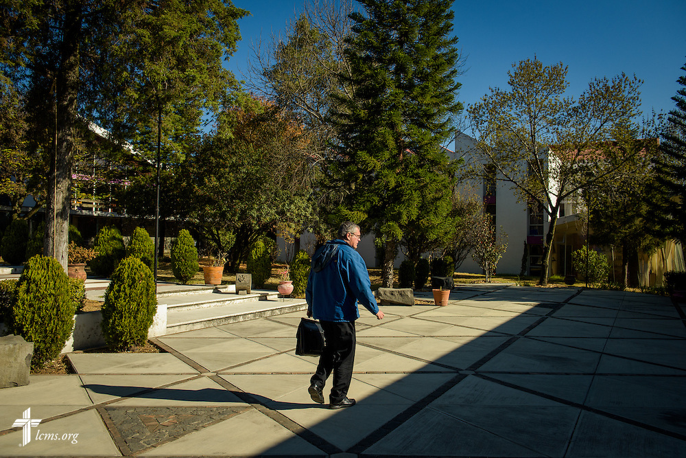 The Rev. Daniel Conrad, LCMS missionary to Mexico, arrives at a Catholic Augustinian seminary to speak about Lutheranism at a forum on Friday, Jan. 13, 2017, in Mexico City. LCMS Communications/Erik M. Lunsford