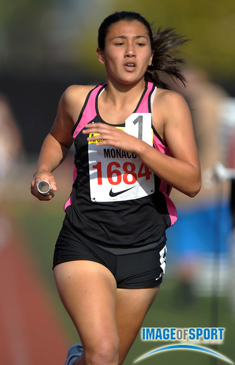 Apr 6, 2012; Arcadia, CA, USA; Jaime Monaco runs the third leg on the Long Beach Poly girls 4 x 800m relay that placed fourth in 9:17.66 in the Arcadia Invitational at Arcadia High.