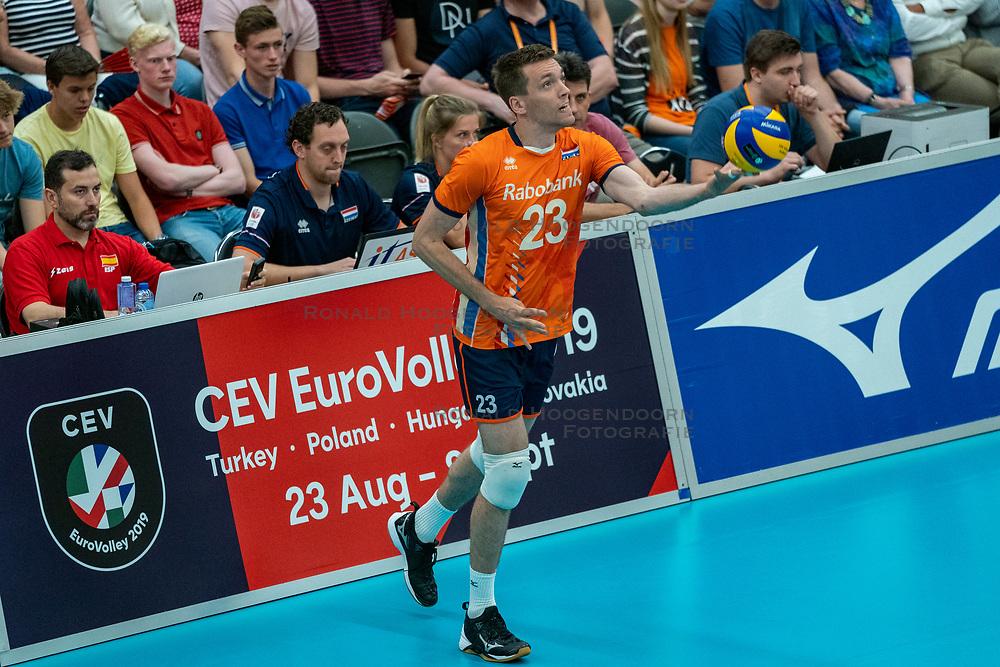 09-06-2019 NED: Golden League Netherlands - Spain, Koog aan de Zaan<br /> Fourth match poule B - The Dutch beat Spain again in five sets in the European Golden League / Sjoerd Hoogendoorn #23 of Netherlands
