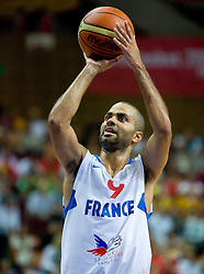 Tony Parker of France during the EuroBasket 2009 Quaterfinals match between Spain and France, on September 17, 2009 in Arena Spodek, Katowice, Poland.  (Photo by Vid Ponikvar / Sportida)
