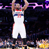 21 March 2014:Washington Wizards forward Trevor Booker (35) takes a jump shot during the Washington Wizards 117-107 victory over the Los Angeles Lakers at the Staples Center, Los Angeles, California, USA.