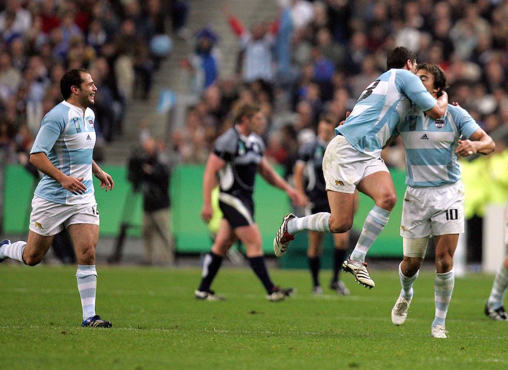 Juan Martin Hernandez is congratulated after scoring a try for Argentina. Argentina v Scotland (19 - 13) Stade de France, St Dennis, 07/10/2007, Quarter Final Match 44. Rugby World Cup 2007..