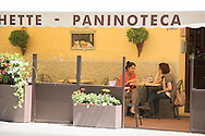 Europe, Italy, Tuscany, Toscana,Pienza, two women in cafe