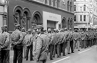 UDA show-of-strength parade in the city centre, Belfast, N Ireland, 16th September 1972. It is passing the Central Post Office and Avenue Cinema in Royal Avenue. 197209160566b<br />