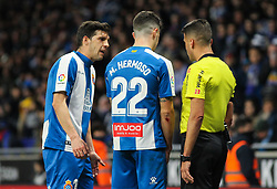 January 27, 2019 - Barcelona, BARCELONA, Spain - Players  of Espanyol and referee in action during La Liga Spanish championship, , football match between Espanyol and Real Madrid,  January 27th, in RCDE Stadium in Barcelona, Spain. (Credit Image: © AFP7 via ZUMA Wire)