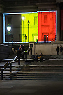 The Belgian flag is projected onto the National Gallery in Trafalgar Square as London landmarks are illuminated in a display of solidarity with Belgium following the terror attacks on March 22nd. Westminster, London<br /> Picture by Paul Davey/Focus Images Ltd +447966 016296<br /> 23/03/2016