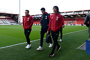 Nathan Ake (5) of AFC Bournemouth walks around the pitch with Ryan Fraser (24) of AFC Bournemouth and Andrew Surman (6) of AFC Bournemouth ahead of the Premier League match between Bournemouth and Watford at the Vitality Stadium, Bournemouth, England on 12 January 2020.