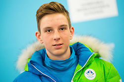 Luka Markun during presentation of Slovenian Young Athletes before departure to EYOF (European Youth Olympic Festival) in Vorarlberg and Liechtenstein, on January 21, 2015 in Bled, Slovenia. Photo by Vid Ponikvar / Sportida