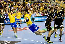 Nemanja Zelenovic #24 of RK Celje Pivovarna Lasko during handball match between RK Celje Pivovarna Lasko (SLO) vs Rhein-Neckar Lowen (GER) in 3rd Round of Group A of EHF Champions League 2013/14 on October 12, 2013 in Arena Zlatorog, Celje, Slovenia. (Photo By Urban Urbanc / Sportida)