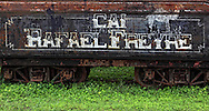 Old train sign with camel in Rafael Freyre, Cuba.