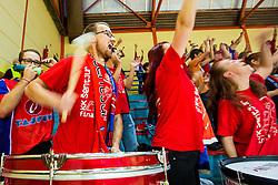 Fans of KK Tajfun Sentjur during basketball match between KK Krka Novo mesto and KK Tajfun Sentjur at Superpokal 2015, on September 26, 2015 in SKofja Loka, Poden Sports hall, Slovenia. Photo by Grega Valancic / Sportida.com