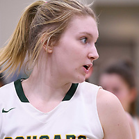2nd year forward Alexi Rowden (15) of the Regina Cougars in action during the home game on January  27 at Centre for Kinesiology, Health and Sport. Credit: Arthur Ward/Arthur Images