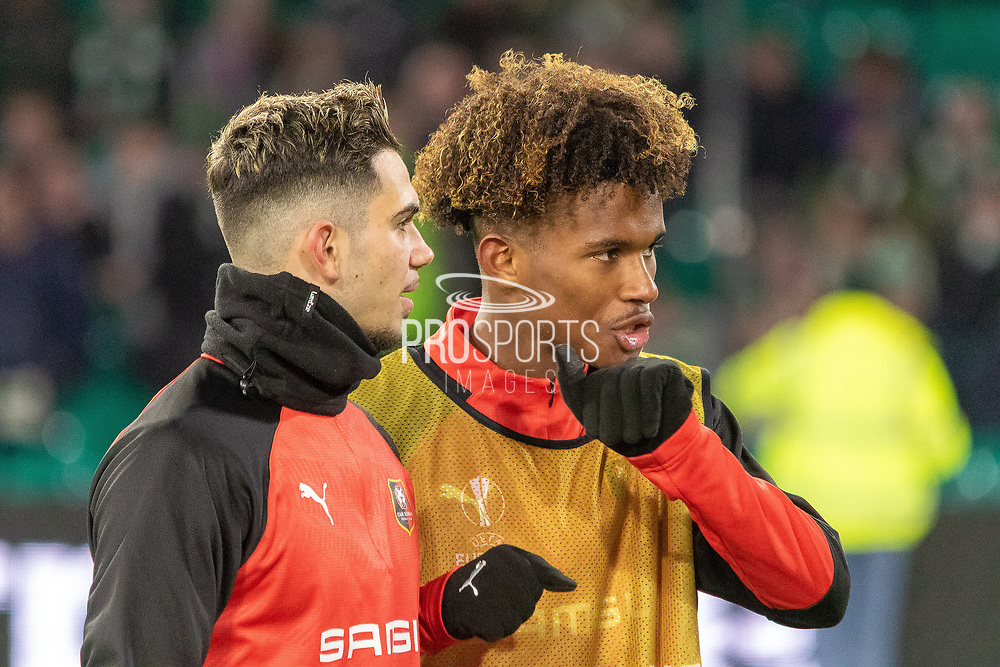 Lucas Da Cunha (32) & Yann Gboho (34) of Rennes leaving the pitch following their warm up ahead of the Europa League match between Celtic and Rennes at Celtic Park, Glasgow, Scotland on 28 November 2019.