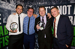 LONDON, ENGLAND - Tuesday, December 8, 2015: Rory Smith, Neil Atkinson, John Gibbons and Gareth Roberts at the Football Supporters' Federation Awards Dinner 2015 at the St. Pancras Renaissance Hotel. (Pic by David Rawcliffe/Propaganda)