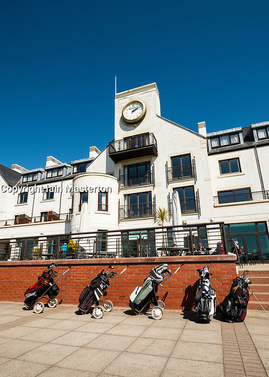 View of Carnoustie Golf Course Hotel behind 18th Green at Carnoustie Golf Links in Carnoustie, Angus, Scotland, UK. Carnoustie is venue for the 147th Open Championship in 2018.