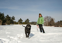 """Blueberry"" and Barbara Lukacsy enjoying a walk together at Ahern State Park on Saturday morning.  (Karen Bobotas/for the Laconia Daily Sun)"