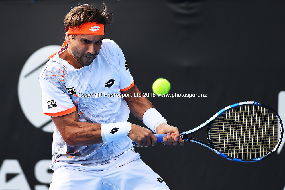 David Ferrer from Spain during Day 5 Semi Finals of the 2016 ASB Classic Mens. ASB Tennis Centre, Auckland, New Zealand. Friday 15 January 2016. Copyright Photo: Chris Symes / www.photosport.nz