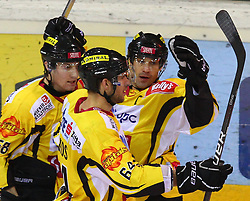 31.01.2012, Albert Schultz Halle, Wien, AUT, EBEL, UPC Vienna Capitals vs HC Orli Znojmo, im Bild Torjubel von cFilip Gunnarsson, (UPC Vienna Capitals, #58),Andre Lakos, (UPC Vienna Capitals, #64) und Dan Bjornlie, (UPC Vienna Capitals, #28) // during the icehockey match of EBEL between UPC Vienna Capitals (AUT) and HC Orli Znojmo (CZE) at Albert Schultz Halle, Vienna, Austria on 31/01/2012,  EXPA Pictures © 2012, PhotoCredit: EXPA/ T. Haumer