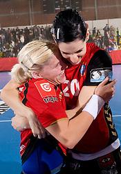 Maja Zrnec and Alja Koren of Krim celebrate at handball match of Round 3 of Champions League between RK Krim Mercator and Hypo Niederosterreich, on November 8, 2009, in Arena Kodeljevo, Ljubljana, Slovenia.  Krim won 35:24. (Photo by Vid Ponikvar / Sportida)