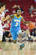 FAYETTEVILLE, AR - NOVEMBER 13:  Treiun Banks #3 of the Southern University Jaguars brings the ball down the court against Dusty Hannahs #3 of the Arkansas Razorbacks at Bud Walton Arena on November 13, 2015 in Fayetteville, Arkansas.  The Razorbacks defeated the Jaguars 86-68.  (Photo by Wesley Hitt/Getty Images) *** Local Caption *** Treiun Banks; Dusty Hannahs
