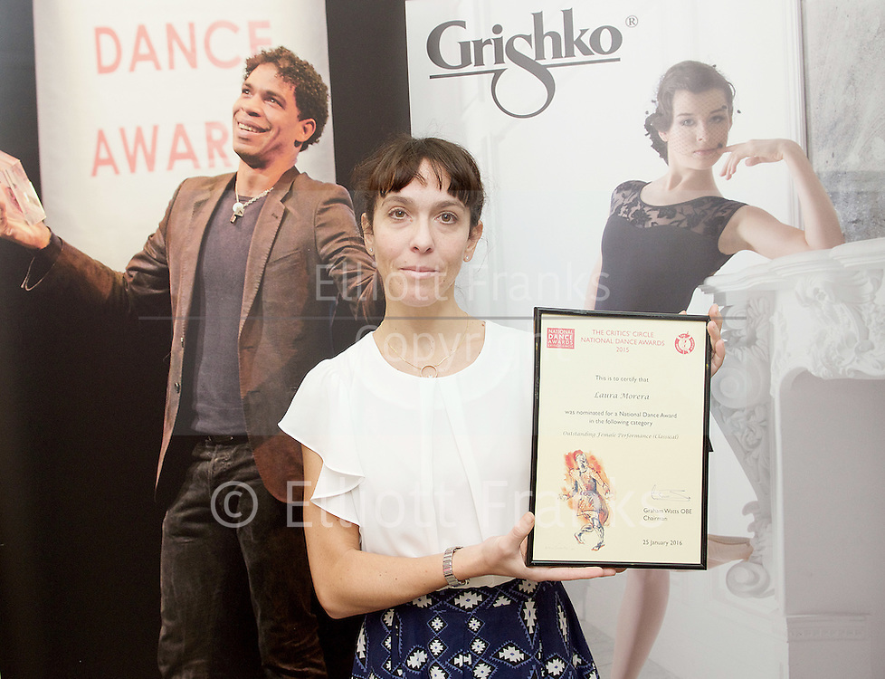 The Critics' Circle National Dance Awards 2015 <br /> at The Place, London, Great Britain <br /> 25th January 2016 <br /> <br /> Laura Morera<br /> <br /> <br /> Photograph by Elliott Franks <br /> Image licensed to Elliott Franks Photography Services