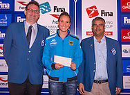 (From L to R)<br /> Jon Hestoy FINA<br /> Isabelle HAERLE GER Germany<br /> Mubarak Abdulla Al Zahmi FINA<br /> Gala Dinner<br /> FINA/HOSA 10 Km Marathon Swimming World Cup  2016<br /> Khalideya Palace<br /> Day1  26 Feb.2016<br /> Photo G.Scala/Insidefoto/Deepbluemedia