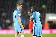 Bacary Sagna (3) of Manchester City seems to be pleading while talking to John Stones (24) of Manchester City during the Premier League match between Bournemouth and Manchester City at the Vitality Stadium, Bournemouth, England on 13 February 2017. Photo by Graham Hunt.