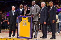 02 April 2013: Jerry West, James Worthy, Elgin Baylor, Shaquille O'Neal, Phil Jackson, and Jamaal Wilkes pose during the jersey retirement ceremony for retired Los Angeles Lakers center (34) Shaquille O'Neal during halftime of  the Lakers 101-81 victory over the Dallas Mavericks at the STAPLES Center in Los Angeles, CA.