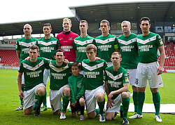 WREXHAM, WALES - Saturday, May 3, 2014: Aberystwyth Town players line up for a team group photograph before the Welsh Cup Final against The New Saints at the Racecourse Ground. Back row L-R: Geoff Kellaway, xxxx, goalkeeper Mike Lewis, Chris Venables, xxxxx, Peter Hoy, Wyn Thomas. Front row L-R: Mark Jones, Antonio Corbisiero, xxxx, Craig Williams. (Pic by David Rawcliffe/Propaganda)