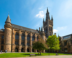 View of old gothic buildings in cloisters of Glasgow University in Glasgow, Scotland UK