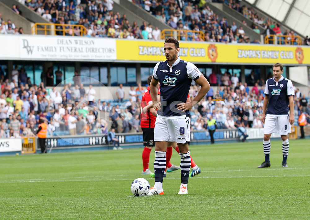 Lee Gregory of Millwall prepares to take his penalty during the Sky Bet League 1 match between Millwall and Coventry City at The Den, London, England on 15 August 2015. Photo by Edmund  Boyden.