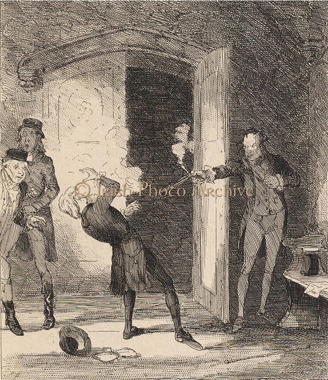 John Bellingham assassinating Spencer Perceval (1762-1812)  the British Minister at the doors of the lobby of the House of Commons, 11 May 1812.   Illustration by 'Phiz' (Hablot Knight Browne) from Camden Pelham 'The Chronicles of Crime', London, 1886.
