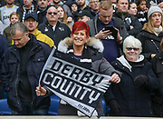Derby County female fan with flag during the The FA Cup 5th round match between Brighton and Hove Albion and Derby County at the American Express Community Stadium, Brighton and Hove, England on 16 February 2019.
