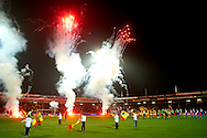 Onderwerp/Subject: Go Ahead Eagles - Willem II - Jupiler League<br /> Reklame:  <br /> Club/Team/Country: Go Ahead Eagles - Willem II<br /> Seizoen/Season: 2011/2012<br /> FOTO/PHOTO: Fireworks before the game. (Photo by PICS UNITED)<br /> <br /> Trefwoorden/Keywords: <br /> #00 #10 #13 $94 ±1324459613958<br /> Photo- & Copyrights © PICS UNITED <br /> P.O. Box 7164 - 5605 BE  EINDHOVEN (THE NETHERLANDS) <br /> Phone +31 (0)40 296 28 00 <br /> Fax +31 (0) 40 248 47 43 <br /> http://www.pics-united.com <br /> e-mail : sales@pics-united.com (If you would like to raise any issues regarding any aspects of products / service of PICS UNITED) or <br /> e-mail : sales@pics-united.com   <br /> <br /> ATTENTIE: <br /> Publicatie ook bij aanbieding door derden is slechts toegestaan na verkregen toestemming van Pics United. <br /> VOLLEDIGE NAAMSVERMELDING IS VERPLICHT! (© PICS UNITED/Naam Fotograaf, zie veld 4 van de bestandsinfo 'credits') <br /> ATTENTION:  <br /> © Pics United. Reproduction/publication of this photo by any parties is only permitted after authorisation is sought and obtained from  PICS UNITED- THE NETHERLANDS