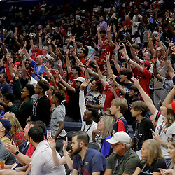 Oct 5, 2019; New Orleans, LA, USA; New Orleans Pelicans fans cheer during a open practice at the Smoothie King Center. Mandatory Credit: Derick E. Hingle-USA TODAY Sports