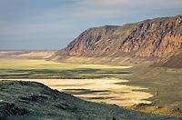 Hart Mountain National Antelope Refuge Oregon. Lower slopes of mountain exhibit bathtub ring of ancient lakebed level.