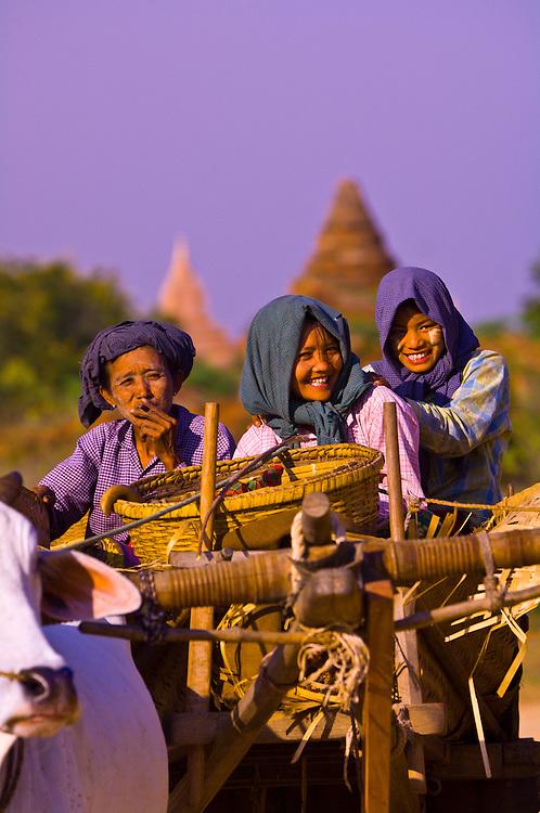 Women riding in Oxcart in Min Nan Thu village, Bagan, Myanmar (Burma)