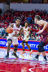 NORMAL, IL - January 19: Cameron Krutwig is the last Rambler between Keith Fisher III and the hoop during a college basketball game between the ISU Redbirds and the Loyola University Chicago Ramblers on January 19 2020 at Redbird Arena in Normal, IL. (Photo by Alan Look)